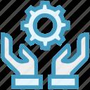 cogwheel, gear, global business, handle, hands, service, settings