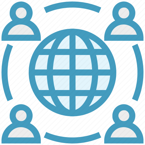 earth, global business, globe, sharing, team, users icon