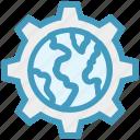 cogwheel, gear, global business, globe, network, settings, worldwide