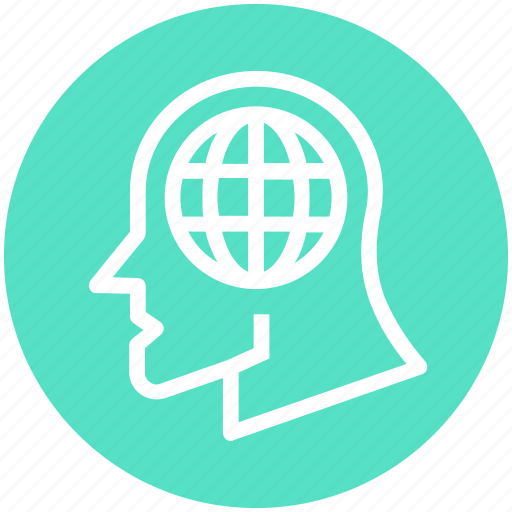 business, global, head, human head, thinking, world icon