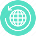 around, arrow, global business, globe, globe sync, sync, world icon
