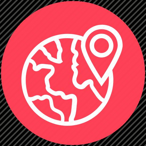 Globe, international, location, map pin, pin, way, world icon - Download on Iconfinder