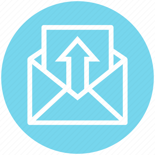 email, envelope, global business, message, send, up, up arrow icon