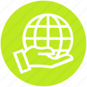 control, earth, global business, globe, hand, holding, world icon