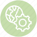 cogwheel, gear, global business, globe, network, settings, worldwide icon