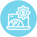dollar sign, gear, globe, internet, laptop, money, settings icon