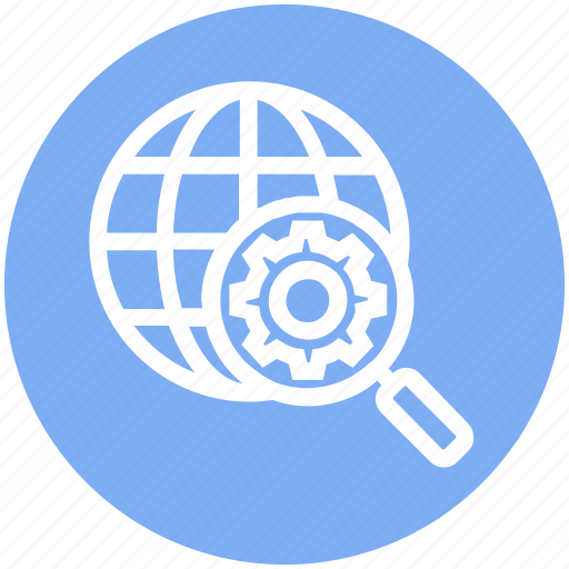 gear, global business, globe, magnifier glass, search, settings, world icon