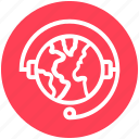 customer support, earth, global business, globe, headphone, headset, plant icon