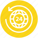 24 hours, around, arrow, global business, globe, globe sync, world icon
