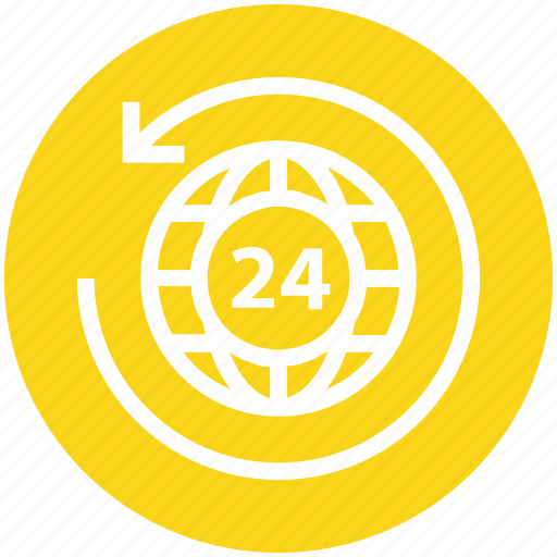 24 hours, around, arrow, global business, globe, globe sync, world icon - Download on Iconfinder