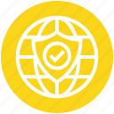 access, business, globe, protect, security, shield, world icon