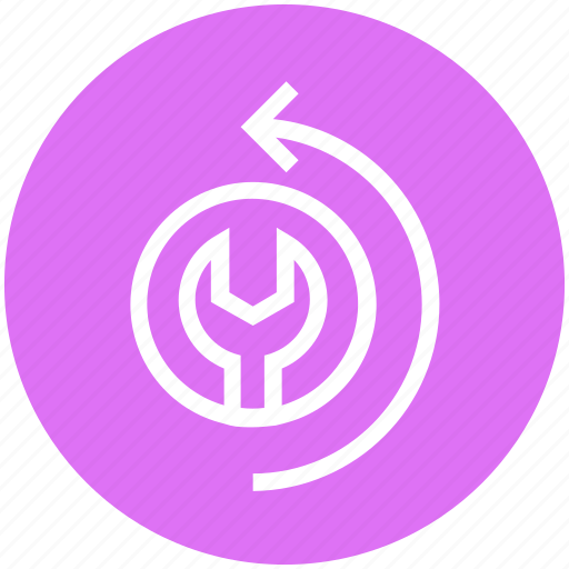 arrow, business, circle, settings, wrench icon
