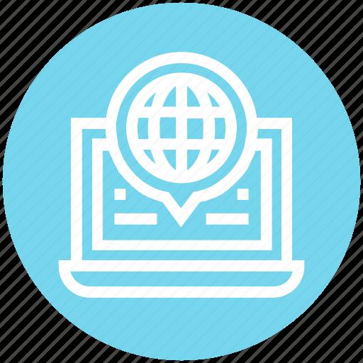 Global business, globe, internet, laptop, talk, web, worldwide icon - Download on Iconfinder
