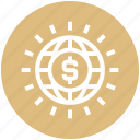 currency, dollar, globe, international, money, usd, world icon
