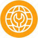 earth, global business, globe, setting, wrench icon