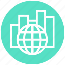 chart, data, global business, globe, graph, network, stats icon