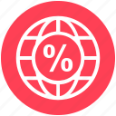 browser, earth, global, global business, globe, percentage, world icon