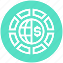 circle, currency, dollar, earth, globe, money, world icon