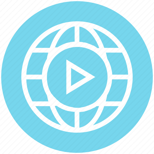 Globe, media, play, play button, play media, video, world icon - Download on Iconfinder