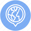 circle, distance, globe, map, pin, route, world icon