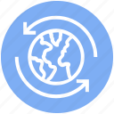 around, arrows, global business, globe, globe sync, sync, world icon