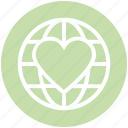 earth, global, globe, heart, like, love, world icon