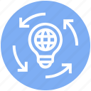 bulb, global business, globe, idea, light bulb icon