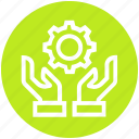 cogwheel, gear, global business, handle, hands, service, settings icon