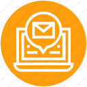 communication, computer, email, envelope, global business, laptop, networking icon