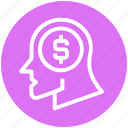 coin, currency, dollar, global business, head, money, thinking icon