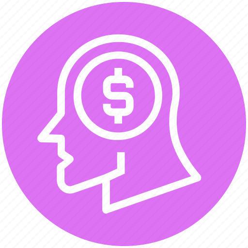 Coin, currency, dollar, global business, head, money, thinking icon - Download on Iconfinder