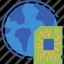 electronics, globalbusiness, world, chip, global icon