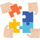 complete, jigsaw, teamwork, solution, globalbusiness icon