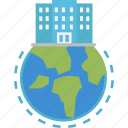 company, globalbusiness, office, headquarter, building icon