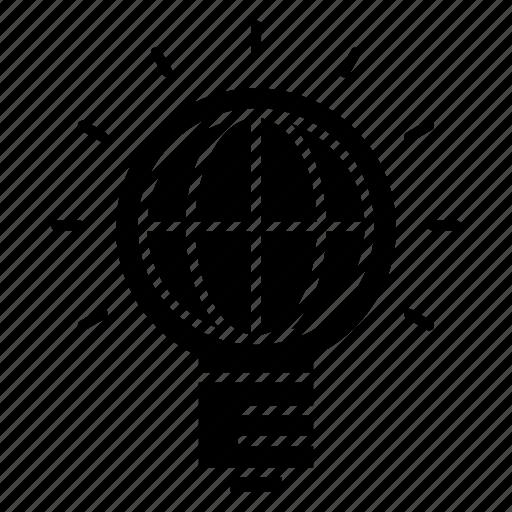 bulb, ideas, international, worldwide icon