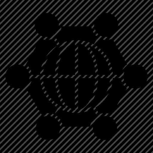 corporation, international, network icon