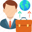 bag, business, business man, communication, customer service, global, leader icon