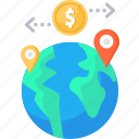 business, dollar, earth, globle, location, money, transfer icon