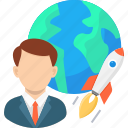 avatar, business, global, international, launch, rocket, startup icon