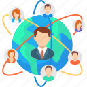 connection, global, hierarchy, international, leadership, management, network icon