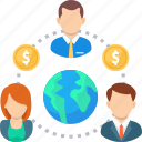 business, coin, global, international, money, network, people icon