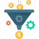 coins, dollar, funnel, gear, money, sales, settings icon