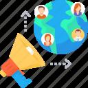 ads, communcation, global, international, marketing, people, promotion icon