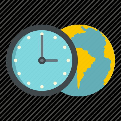 blue, clock, earth, globe, planet, time, world icon