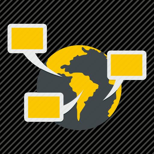 bubble, chat, communication, continent, global, globe, speech icon