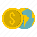 business, coin, currency, dollar, finance, globe, money icon