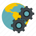 business, concept, earth, gear, global, globe, world icon