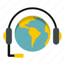 earth, global, globe, headphone, headset, planet, world icon