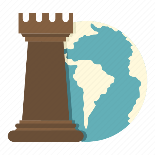chess, concept, game, globe, piece, rook, strategy icon