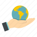 earth, global, globe, hand, map, planet, world icon
